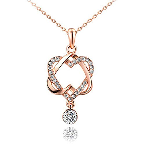 Delia Joyce Love Necklace for Girlfriend Love Heart Pendant Necklace Ideas Her Grandma Teenage Girls Double Heart Necklace Girlfriend Wife -