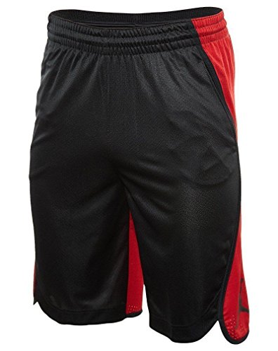 Basketball Jordan Shorts Air (NIKE Men's Air Jordan Flight Basketball Shorts Black Red AA5581 011 (XL))