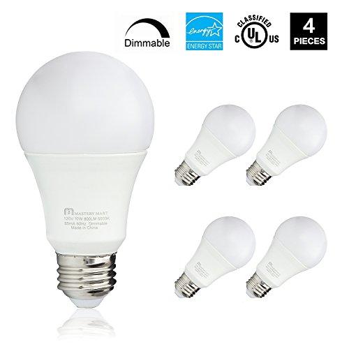 Led Light Bulbs 10 Watt [60 Watt Equivalent], A19 - E26 Dimmable, 5000K Daylight, 800 Lumens, Medium Screw Base, Energy Star, UL Listed by Mastery Mart (Pack of (83 Value Pack Light)