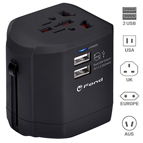 Europe Phone (Travel Adapter, eFond Universal Adapter All in One Travel Plug with Dual USB Charging Ports Universal Charger for Europe Italy France Germany UK India Spain Australia Canada Mexico Cell phone laptop)