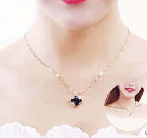 2eff4779f409df Generic Rose_ gold ornaments steel White _spot_ fashion pendant necklace  chain clavicle women girl _wave_ black