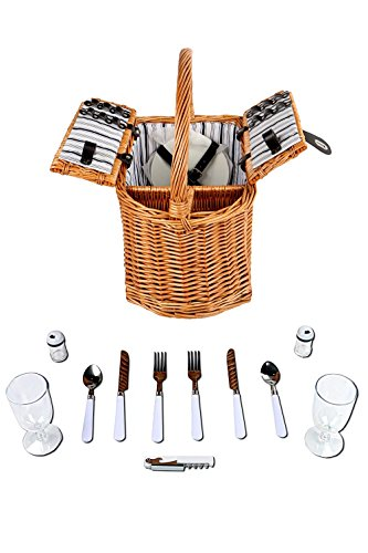 Woworld Double Lid Picnic Wicker Basket for 2 Persons Includes Plates Glasses Salt - Double Basket Lid Picnic