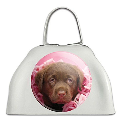 Chocolate Labrador Retriever Puppy Dog Pink Roses White Metal Cowbell Cow Bell Instrument ()