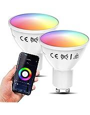 B.K.Licht Led-GU10 wifi-lamp, 5,5 watt, 350 lumen, RGB, CCT, dimbaar, app-spraakbediening, iOS en Android, wifi-gloeilamp, slimme lamp