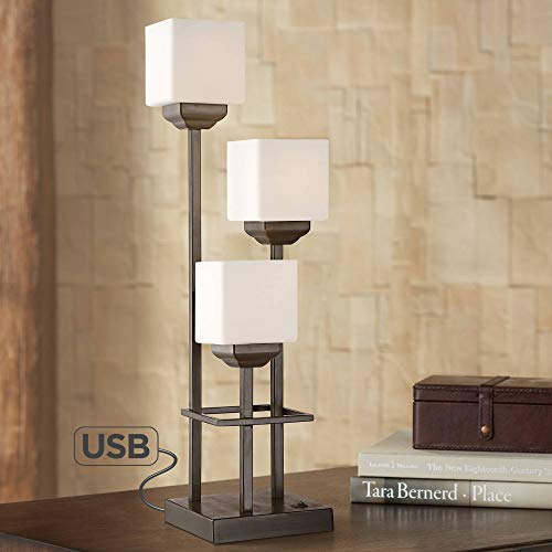 (Light Tree 3-Light Bronze Console Table Lamp with USB - Franklin Iron)