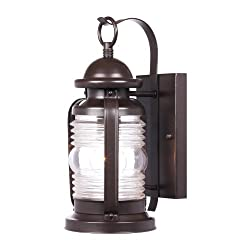 Westinghouse 6230100 Weatherby One-Light Exterior Wall Lantern, Weathered Bronze Finish on Steel with Clear Glass