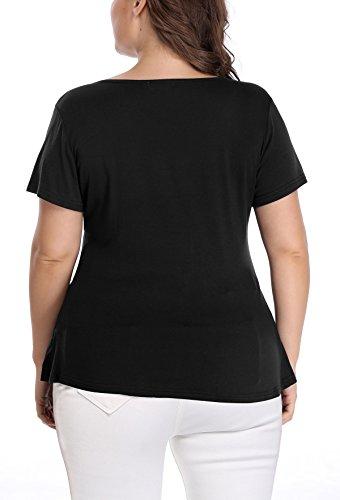 Noir en col Chemise Fronces MOLY avec L'avant Profond Taille V Manches MISS et Femme Grande Blouse Courtes q8Ew0a
