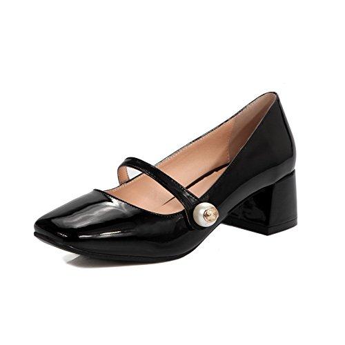 Amoonyfashion Damesschoenen Solid Pu Kitten Hielen Vierkant Gesloten Teen Pull-on Pumps-schoenen Zwart