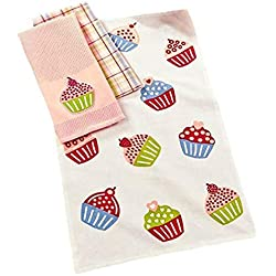 3-Pc. Spring Kitchen Towel Set Cupcake