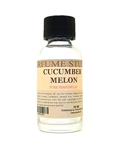 Cucumber Melon Perfume Oil for Perfume Making, Personal Body Oil, Soap, Candle Making & Incense; Splash-On Clear Glass Bottle. Top Quality Undiluted & Alcohol Free (1oz, Cucumber Melon Fragrance Oil) (Cucumber Perfume Oil)