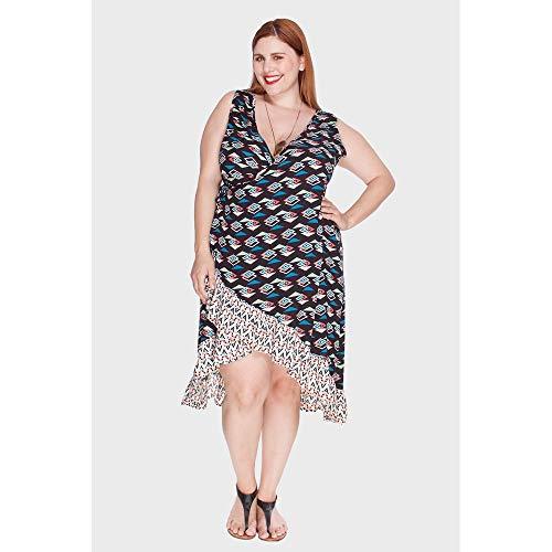 Vestido Alto Alegre Plus Size Preto-48/50
