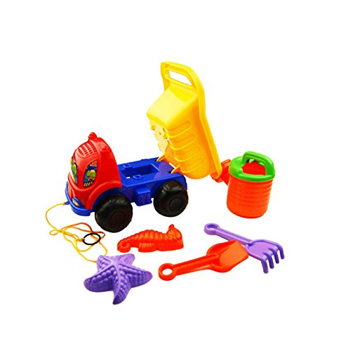 Easting Beach Toys Bulldozer Dump Truck Set for Kids-6 Piece Sandbox Beach Set by Easting&co