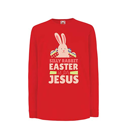 - lepni.me Kids T-Shirt Christians Gift Silly Rabbit Easter is for Jesus, Cute Bunny (14-15 Years Red Multi Color)