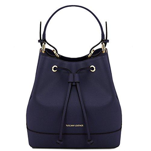 Tuscany Leather Minerva Saffiano leather secchiello bag Dark Blue by Tuscany Leather