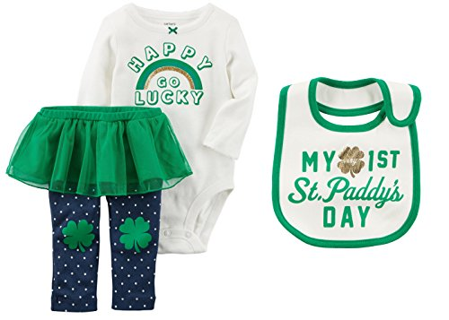 Carters Girls Babys First ST Patricks Day Bodysuit and Pants With Tutu and Bib Set (9 Months, Happy Go Lucky) -
