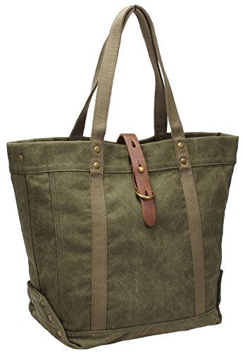 Iblue Women Totes Bag Canvas Top Handle Shoulder Handbag Large #254 (army (Canvas Tote Bag Green)