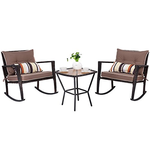 TANGKULA 3 PCS Patio Rattan Wicker Furniture Set Outdoor Garden Glass Top Coffee Table & Rocking Wicker Chair Set w/Red Cushions (brown) (Wicker Chair Cushions Rocking)
