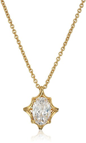 Nicole Miller Oval Cut Floral Gold/ Clear Pendant Necklace, 18