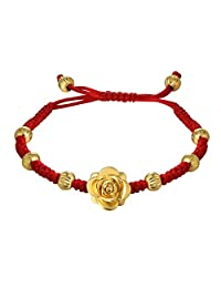 Women Girls Lucky Red String Bracelet Gold Plated Rose Charm Beads Bracelet Bridal Jewelry