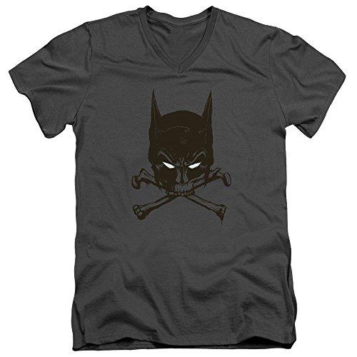 Batman DC Comics Bat Mask Bat And Bones Skull Adult V-Neck T-Shirt