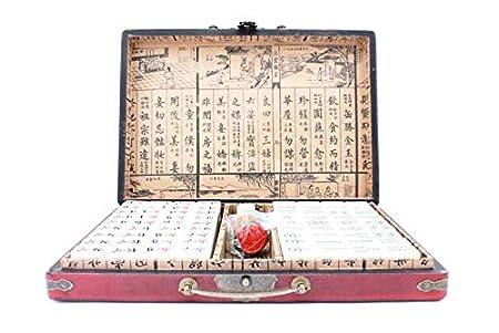 Large Travel Mah-jongg,Travel Mahjong Portable Majiang With Antique Style Box And Manual In English Red Love Bird 144 PCS