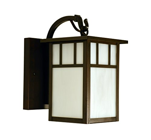 "Arroyo Craftsman HB-4LWAF-P Huntington Wall Mount with Classic Arch Overlay, 4"", Pewter Metal Finish, Frosted Glass"