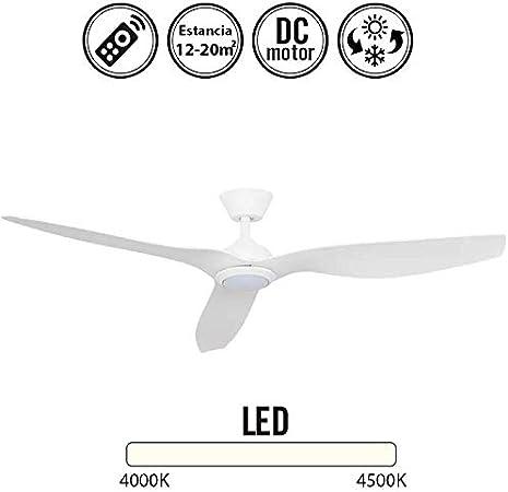 Ventilador de techo con luz Led DELFOS blanco: Amazon.es: Hogar