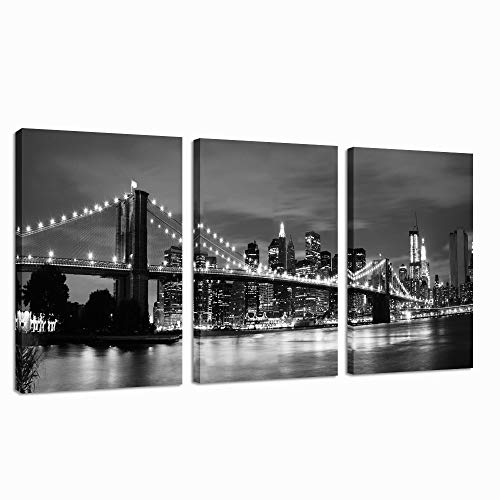 sechars - Modern Wall Art Black and White New York Poster Brooklyn Bridge Night View Picture Canvas Prints for Home Office Bedroom Wall Decor City Cityscape Painting Stretched and Framed Ready to Hang