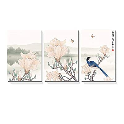 3 Panel Canvas Wall Art - Chinese Ink Painting of Mountain and Lake Landscape with Flowers and Birds - Giclee Print Gallery Wrap Modern Home Art Ready to Hang - 16