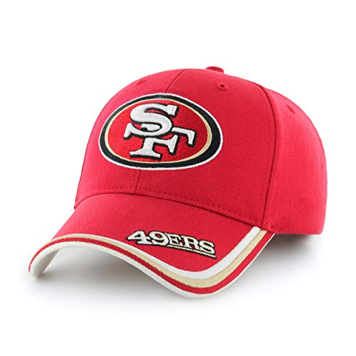 Red NFL San Francisco 49ers Cap/Hat Sports Theme Football Hat Embroidered Team Logo Athletic Games Baseball Cap for Boys Kids Unisex Fan Gift Stylish Adjustable Strap Closure Quality Tactel Fabric]()