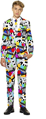 Teen Boys 'Testival' Party Suit and Tie by OppoSuits, Size 12 - Retro Space Suit Costume