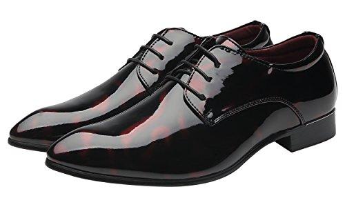 Santimon Herren Derby Schnürhalbschuhe Fashion Lack Leder Streifen Oxford Herrenschuhe Blau Rot Grau Rot