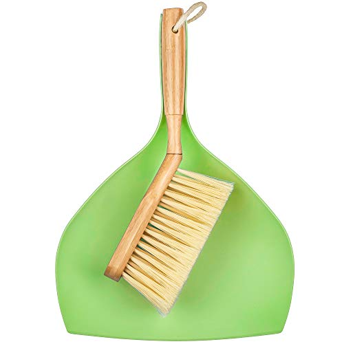 DecorRack 100% Natural Bamboo Brush and Dustpan, Ecofriendly Brush with Wood Handle and Durable Bristles, Dustpan Set, Ideal for Household Cleaning, Kitchen, Bathroom, Utility Room, Green (1 Pack)