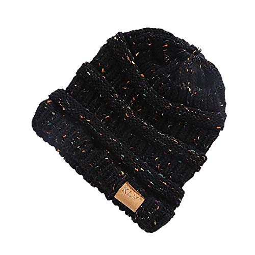HGWXX7 Women Warm Baggy High Bun Ponytail Crochet Knit Artificial Wool Winter Ski Beanie Skull Caps Hat(One Size,Black)