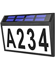 House Numbers Address Sign, Bridika Solar House Number Plaques with Numbers, Solar Powered Waterproof LED Lighted House Numbers for Houses Lawn Yard Street and Patio