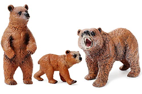 UANDME Grizzly Bear Toy Figurines Set, Bear Figure Cake Toppers from UANDME