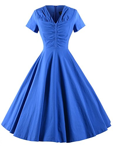 GownTown-Womens-Dresses-V-neck-Short-Sleeves-1950s-Vintage-Dresses-Swing-Stretchy-Dresses