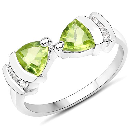 (Bonyak Jewelry Genuine Trillion Peridot and White Topaz Ring in Sterling Silver - Size 5.00)