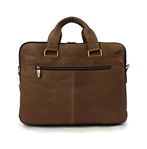 "Kenneth Cole ""Take The Op-Port-unity"" Leather Double Gusset 15.6″ Laptop Briefcase Cognac"