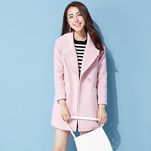 Sakura rose M Xuanku Manteau Long en Laine Tweed Filles Slim Manteau en Laine Manteau épais