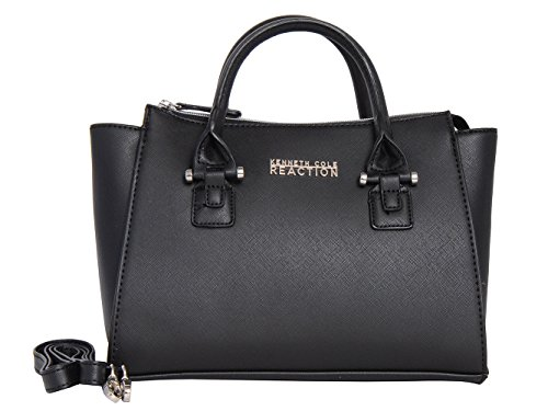 Kenneth Cole REACTION KN1550 Magnolia Handbag Top Handle Messenger Crossbody Shoulder Bag (BLACK)