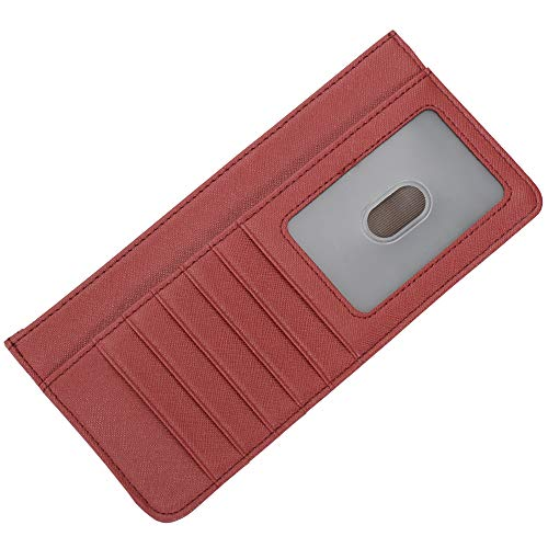Women's Credit Card Wallet Slim Leather Long Wallet with Zipper Pocket for Cash, Coin, Receipt, ID Card (Dark Red)
