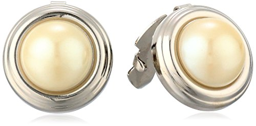 1928 Jewelry Unisex Silver-Tone Simulated White Simulated Pearl Round Button (Pearl Button Center)
