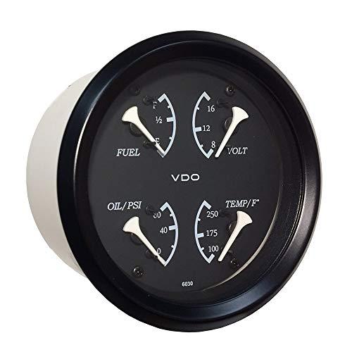 (Vdo Allentare 4 In 1 Gauge - 85mm - Black Dial/White Pointer - Oil Pressure, Water Temp, Fuel Level, Voltmeter - Black Bezel)