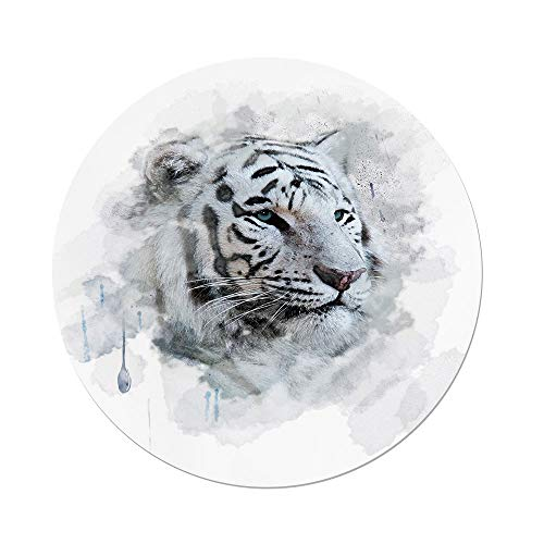 iPrint Polyester Round Tablecloth,Animal,Artistic Portrait a White Tiger Wild Nature Predator Watercolor Splashes Decorative,Black Grey White,Dining Room Kitchen Picnic Table Cloth Cover Outdoor Indo by iPrint (Image #1)