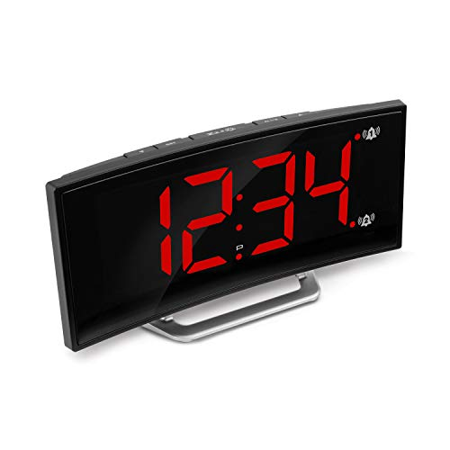 Marathon USB Alarm Clock Charger with 7 Inch Dimmable Curved Screen. 2 Alarms and Snooze Function. Battery Backup Included. Hotel Collection. Color-Black Case with Red LED Digits. SKU – CL030070BK-RD