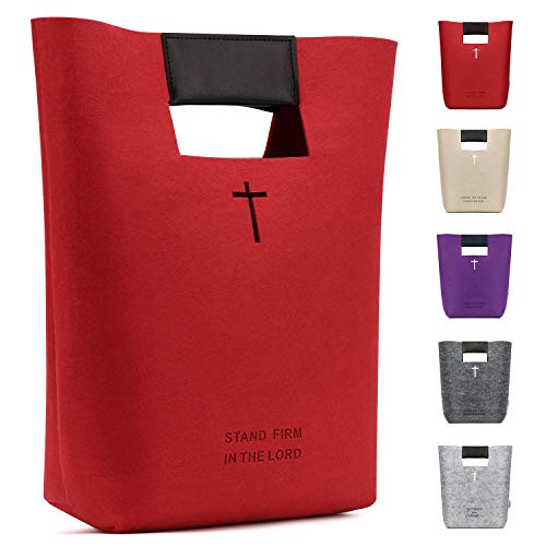 Bridawn Felt Bible Cover Case for Women Men, Christian Bible Tote Carved Cross Holy Bible Carrying Bag Church Bible Study Case Christian Gift for Week Deals]()