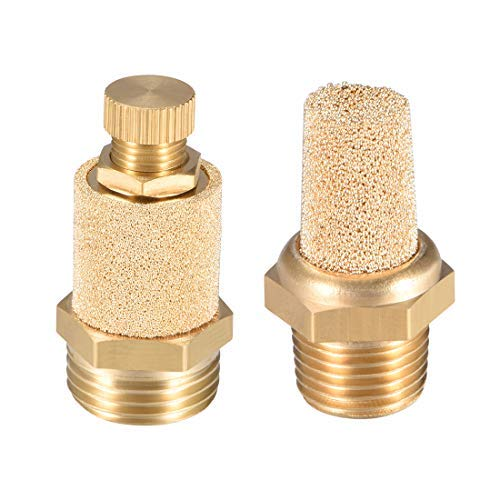 Brass Exhaust Silencer M5 5//16 inch Male Thread Pneumatic sintered Bronze Pneumatic Silencer with protruding Brass Body 2 Pieces