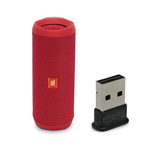 JBL Flip 4 Waterproof Portable Bluetooth Speaker, Red, Bundle with USB 2.0 Bluetooth Adapter (USB-BT4LE)