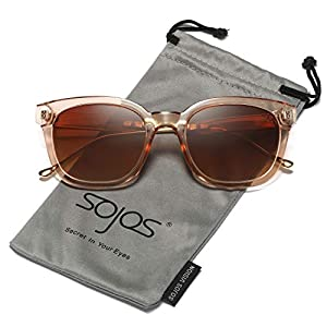 SOJOS Vintage Polarized Sunlgasses Womens Mens Square Frame Mirrored Lens SJ2050 SJ2027 SJ2029
